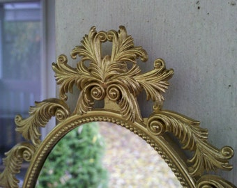 Gold Oval Mirror in Vintage Brass Feather Frame
