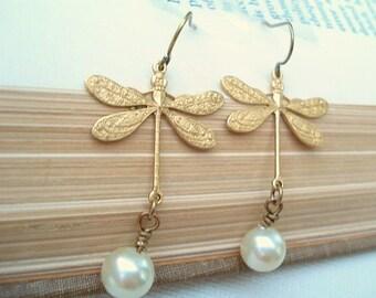 Brass Pearl Dragonfly Earrings Pearl Dangle Earrings Brass Dragonfly Earrings Dragonfly Jewelry