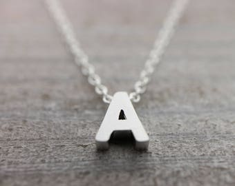 Custom upper case initial silver necklace