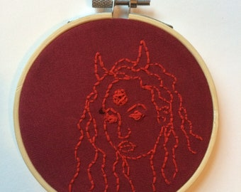 red devil girl embroidery