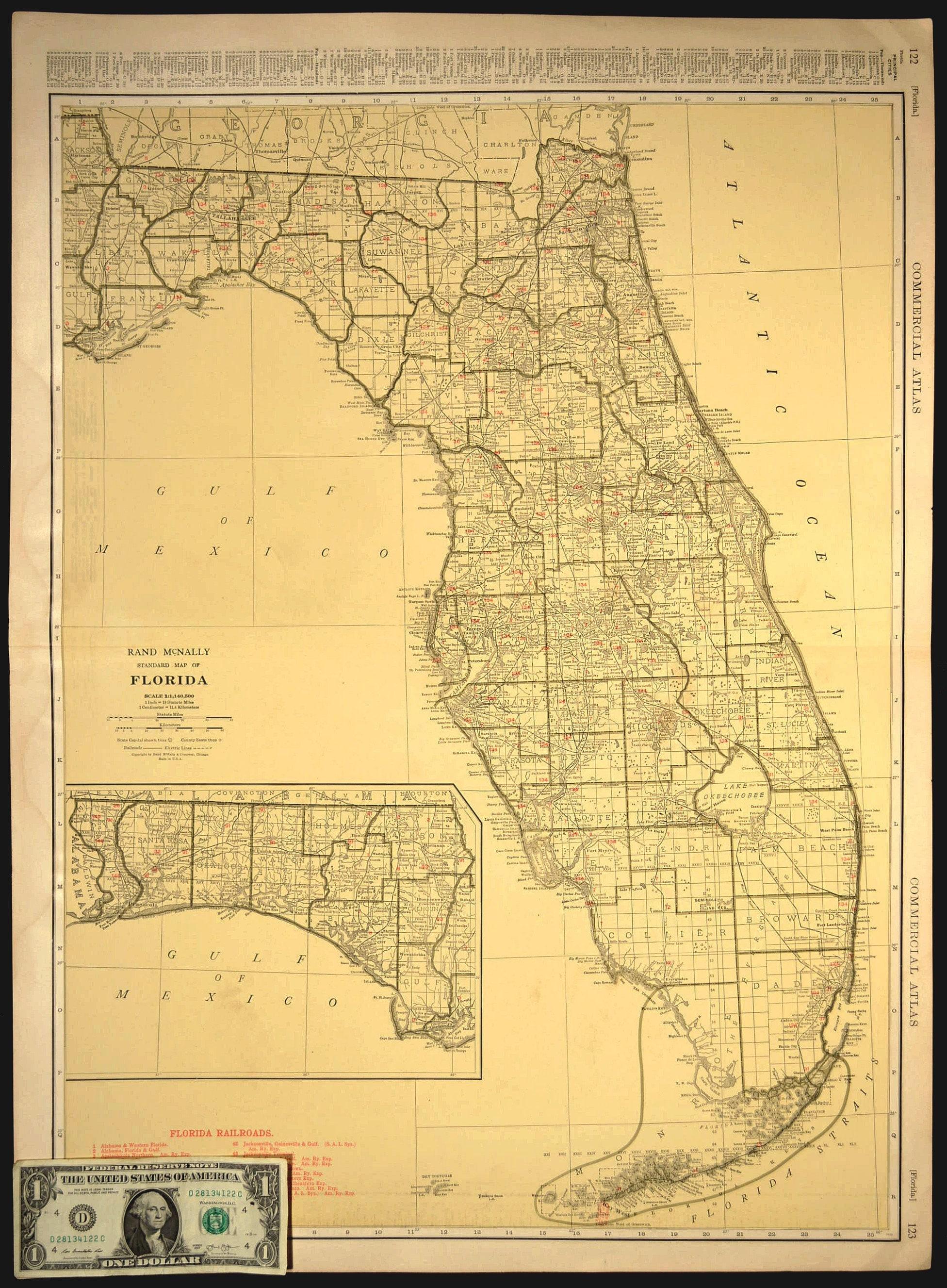 Florida Map EXTRA LARGE Florida Railroad Map Wall Art