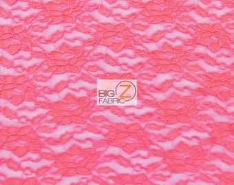 "Floral Stretch Lace Fabric - CORAL - Sold By The Yard  - 60"" Width"