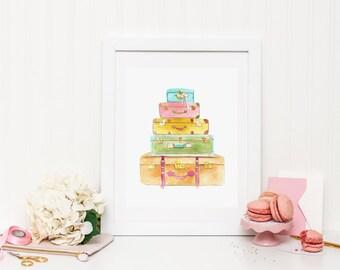 Colorful Luggage Art Print (Travel Gift - Travel Decor - Luggage Set Art - Wanderlust Print)