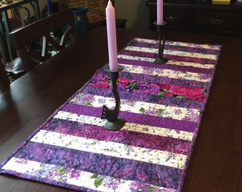 Purple Flowers reversible quilted table runner
