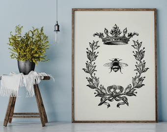 Bee Print, Queen Bee Print, Bee and Wreath, Wreath Print, Farmhouse Print, Rustic Wall Art, French Country, Printable Art, Instant Download