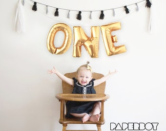 ONE Balloon Garland with Tassels Kit - First Birthday - 1st Boy or Girl Baby - Gold Letter Balloons Banner Decoration 1 - First Bday Ideas