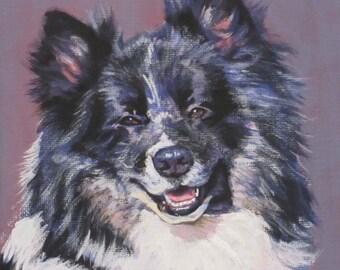 "ICELANDIC SHEEPDOG dog art portrait canvas PRINT of LAShepard painting 8x8"""