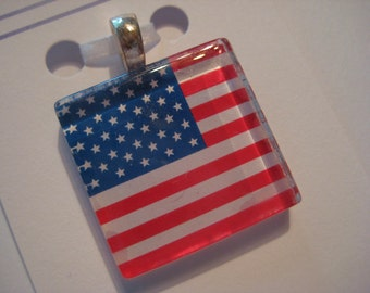 US Flag July 4 Glass Pendant Necklace with Silver Chain, Fourth of July Jewelry