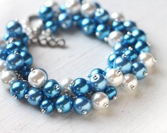 Blue Bridesmaid Jewelry, Pearl Cluster Bracelet - Cerulean Blue Azure