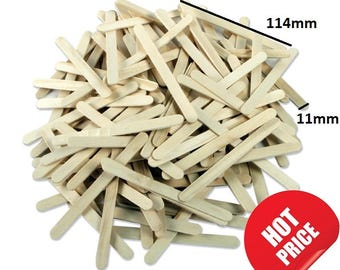 100 Wooden Lollipop Sticks Natural Wood