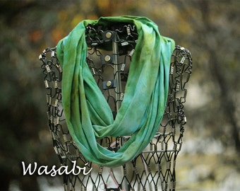 Green Infinity Scarf-Cotton Jersey Scarf-Marble Abstract Scarf-Wasabi