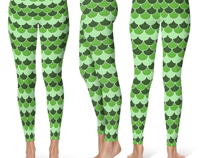 Green Mermaid Leggings Yoga Pants, Printed Yoga Tights for Women, Dragon Scales Pattern