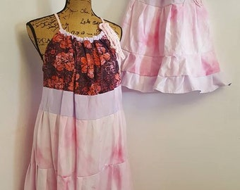 Mommy and Me Mother Daughter Dress Set, Handmade Ruffled Party Dress Set, Floral Print Patchwork Beach Dresses, Grandmother Mother Daughter