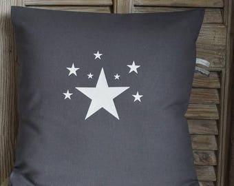 Pillow cover gray, white glitter stars