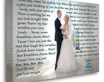 Printing on canvas, Canvas Print. 16x24  inches Gallery Wrapped Canvas Art, Photo with Lyrics, First Dance Song,Vows.