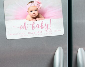 Handwriting - Birth Announcement Magnets + Envelopes