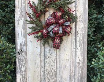 Buffalo Plaid Christmas Wreath, Rustic Christmas Wreath, Farmhouse Christmas Wreath, Buffalo Plaid Wreath, Red Plaid Christmas Wreath