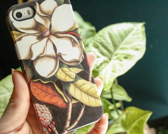 Magnolia iPhone 7 Case, Vintage Floral Botanical iPhone X, SE, iPhone 6S, Samsung Galaxy Cover, Flower iPhone 8 Plus Case
