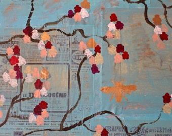 BEAUTIFUL baby blue original painting with French ephemera elements. Pink, red, blue and gold leaf - Large, 36X48