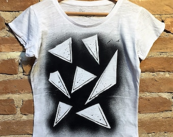 Handmade hand painted cotton t-shirt gift for her lady casual Girl chic fashion black art