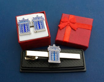 Dr Who TARDIS Police Call Box Tie Clip & Cufflinks Set~Father's Day Gift