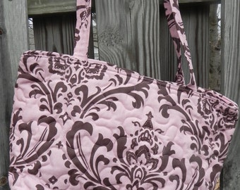 Handmade Zip Top Quilted Tote with inside zippered pocket
