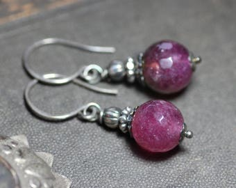 Raspberry Pink Quartz Earrings Pink Gemstone Earrings Sterling Silver Earrings Rustic Jewelry
