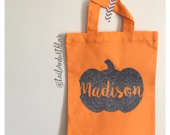 Children's Personalised Trick or Treat Halloween Pumpkin Bag for Halloween