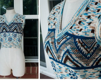 1960s - blue and brown Snowflake vest pull over top - size XS