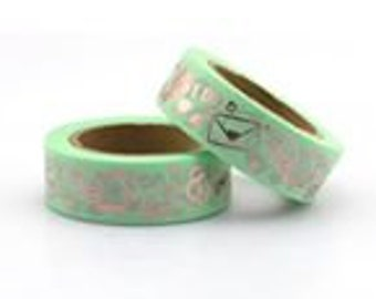 Green Foiled  Washi Tape / Craft Tape