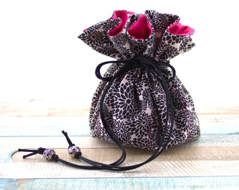 Jewelry Drawstring Pouches Travel Jewelry Case Cosmetic Travel Bag Black Floral Jewelry Bag Bridesmaids Gift For Her Custom Color Options