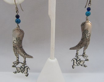Sterling Silver Cowgirls Boot Earrings Cowgirl on a Horse Southwestern Style Earrings