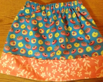 Mismatched Masterpiece I LOVE DOUGHNUTS super fun skirt Girls Size 6/7 ready to ship One of A KInd