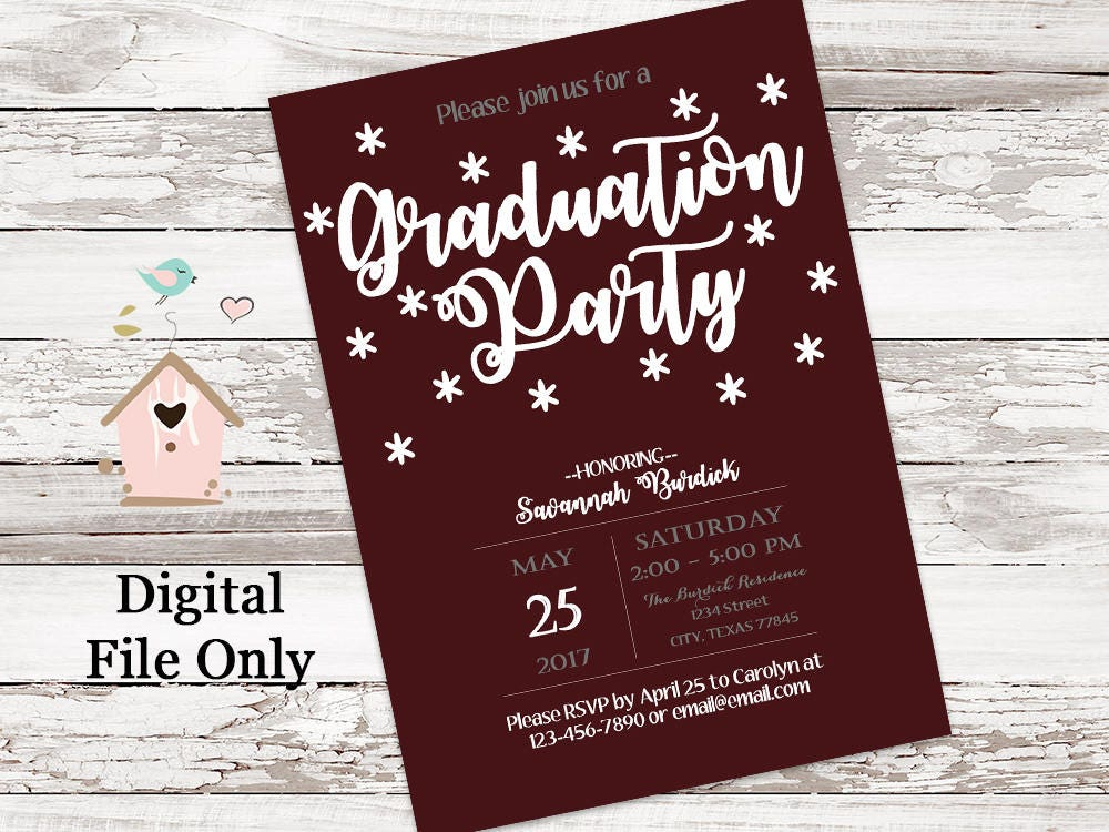 Maroon Texas A&M Aggie Graduation Party Invitations