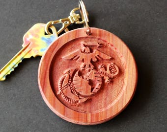 Military Keychain -  Wooden Keychain - Wood Keychain - Carved Keychain - Marine Corps Keychains - Engraved Keychain - Key Chain