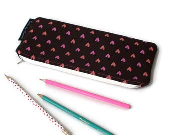 "EXTRA LARGE Hearts Pencil Case / Long Pencil Case / Large Pencil Pouch / Zipper Pouch / Long Zipper Pouch / Anything Pouch 10"" x 4"" inch"