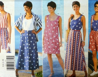 Uncut 1990s Butterick Vintage Sewing Pattern 4542, Size XS-S-M; Misses' Shirt, Dress, Top, Skirt, and Shorts
