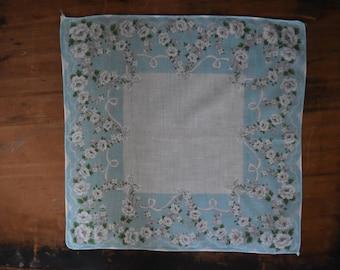 Light Blue Floral Handkerchief - Vintage Hankie - Vintage Floral Hankie - Vintage Handkerchief
