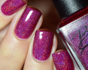 Unicorn Love - Gorgeous Raspberry Red/Pink/Wine Red Holographic polish 2018 Full size 15ml bottle.