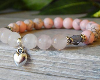 Pink Bracelet, Rose Quartz Jewelry, Pink Beaded Bracelet, Heart Bracelet, Pink Bead Bracelet, Pink Jewelry, Gemstone Bracelet, Heart Charm