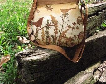Golden Dandelion, Dragonfly, Bird Handmade Tote, Purse, Shoulder Bag, Cross Body Bag, Large Back Pocket, Inside zipper pocket, Keychain