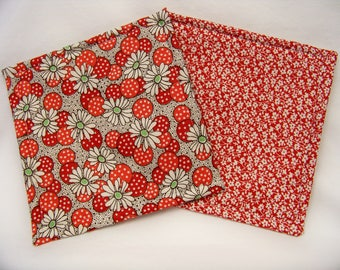 Get A Grip in Polka Dot Flowers in Red - Set of 2 - Jar Opener - Lid Opener - Non Slip - Gripper - Ready To Ship