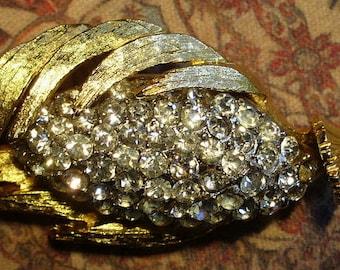 Vintage Gold & Rhinestone Pave Brooch