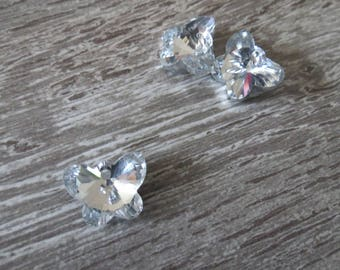 Butterfly swarovski crystal, clear, white, silver, 18mm x 13mm