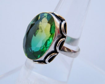 Green Quartz Ring, Faceted Gemstone Ring, Handmade Ring, Beautiful Ring - Gift For Her