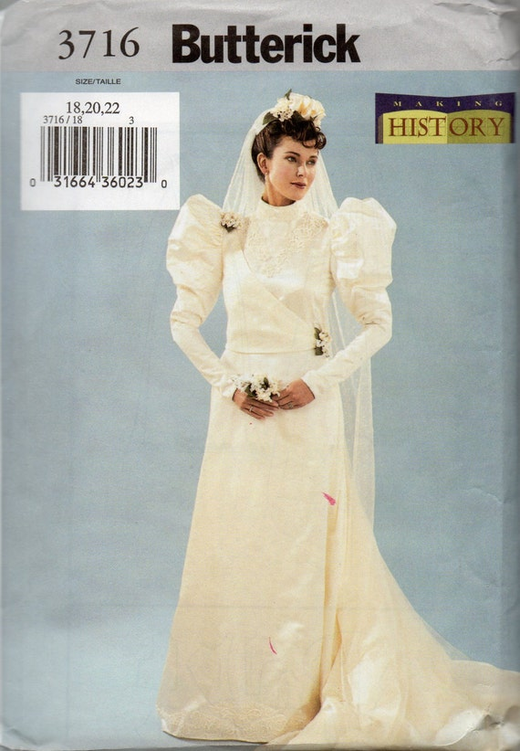 Butterick 3716 Misses Victorian Costume Pattern Historical Wedding ...