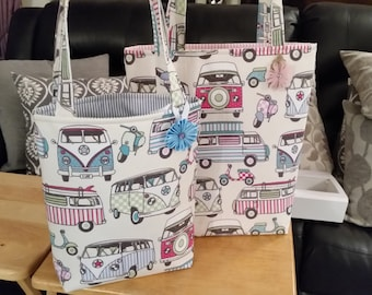 Campervan Shopper /Tote Bag. Ladies. Women. Girls. Lined and internal Pocket. Pink Blue Green Turquoise. Choice of Size/Colour