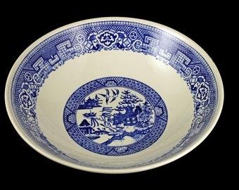 Blue Willow Bowl, Homer Laughlin, Vegetable Bowl, Blue and White, Serving Bowl, Display Bowl