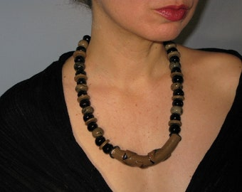 80s Necklace, Ceramic Beaded Necklace, Brown Black
