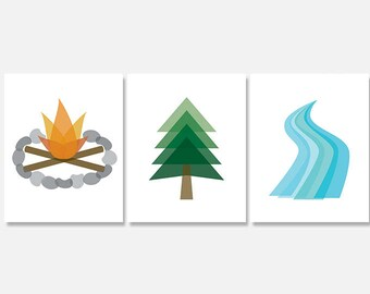 Camping Art Print Digital Download Set, Outdoor Exploration Printable, Woods Campfire River Printable Artwork, Nursery Wall Art Decor